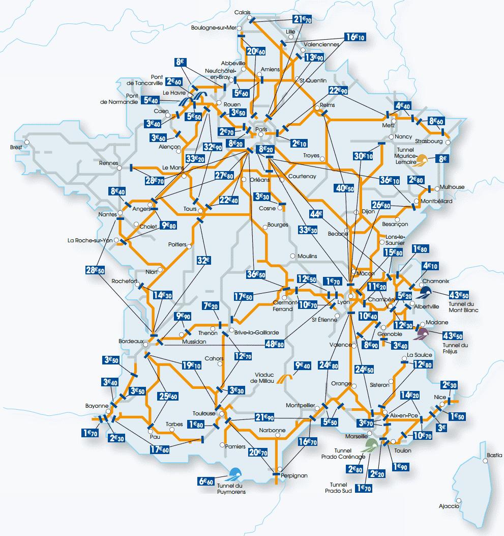 Схема железных дорог во франции